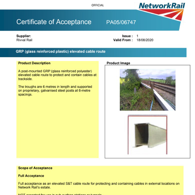 Elevated Troughing Certificate